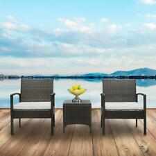 New Listing3 Pcs Rattan Patio Furniture Sofa Set Garden Cushioned Chair with Coffee Table