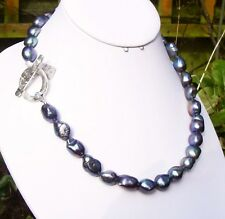 Sterling Silver & Peacock Pearl Necklace, Handmade Toggle Clasp & Blue Topaz