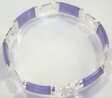 Purple Jade 18KWGP Fortune Longevity Happiness Luck Link Clasp Bangle Bracelet