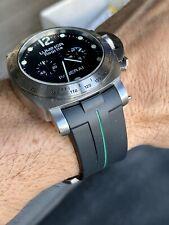 Perfect Fit Panerai 44mm Luminor 24mm Vulcanized Watch Strap Band - GREEN Stripe