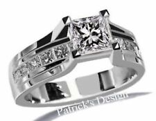 1.50CT G COLOR PRINCESS CUT DIAMOND ENGAGEMENT WEDDING RING 14K WHITE GOLD PD7G