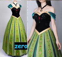 Movie Frozen Anna Coronation Silk Embroidery Women Halloween Cosplay Party Dress