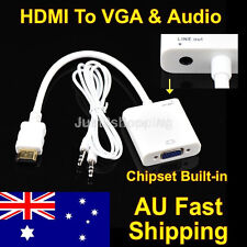 HDMI Male to VGA Female Video Adapter Cable Converter 1080P With Audio Line Out