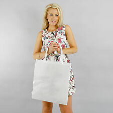 LARGE WHITE PLAIN NON WOVEN TOTE/SHOPPER BAG WITH LONG HANDLES