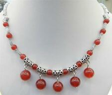 LOVELY NATURAL RED RUBY ROUND BEADS PENDANTS & TIBET SILVER NECKLACE 18""