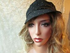 Bucket Hat Vintage Black Yellow Dots Women Cloche Boat Beach Stiff Brim Hat