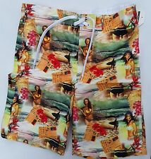 Mens Board Shorts with Beach, Postcards and Ladies detail.