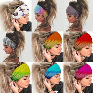 Womens Wide Sport Yoga Headband Hairband Elastic Wrap Turban Stretch Hair Band