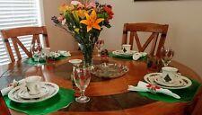 Evergreen Stoneware Christmas Tree Dinnerware Set Serves 4 Wine Glasses 33 Pcs
