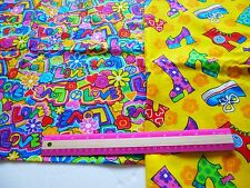Bright hippie  funky peace love & shoe print fabric-2 pieces (silver glitter)