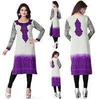 Women Fashion Indian Long Kurti Tunic Printed  Kurta Top Shirt Dress 112D