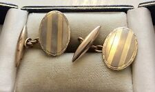 Nice Antique Stamped Gents Art Deco 9ct Two Colour Gold Cufflinks Smart