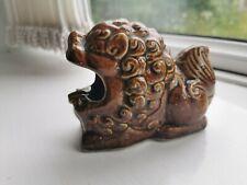 Vintage Brown Ceramic Lion Ashtray