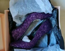 Faith púrpura Sparkle Brillo Court Shoe, puntera en punta, tacón Stiletto, tamaño de Reino Unido 8
