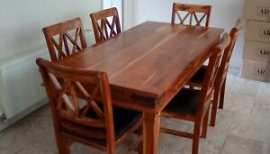 Dining Table and Six Chairs Indian hardwood good used condition