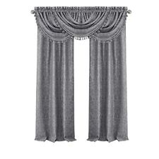 "95"" window Curtain set Includes Waterfall Valance Elrene Antonia Blackout Silver"