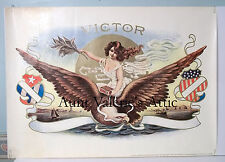 """Antique Cigar Box Label Print  20x28"""" 1900 Embossed VICTOR F.M. Howell Co."""