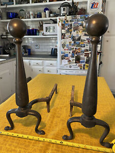 Vintage Cast Iron Fireplace Andirons Firedogs Cannonball Top 30 Pounds