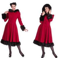 Hell Bunny Elvira Black Fur Trim Winter Coat Rockabilly 1950's Vintage Pin Up