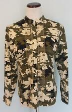 CHICO'S~Sz 1~Long Sleeve Camo Button Up Embroidered Blouse Top~EUC