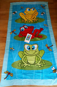 "New Frog Lily Pad Beach Bath Towel Plush 30"" x 60"""