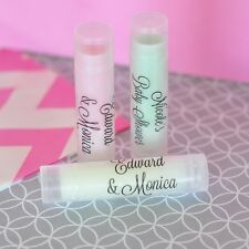 24 Personalized Clear Label Lip Balm Tubes Bridal Shower Wedding Favors
