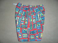 vintage crazy pattern shorts 80er Jahre sport oldschool pants 80s new wave M