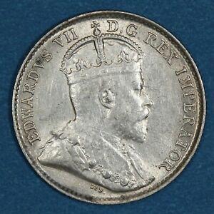1902 small H Canada 5 Cents silver coin, AU/UNC, KM# 9