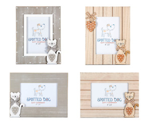 """6 x 4 """" Photo Picture Frames Wooden Cat Home Decor Gift for Animal & Cat Lovers"""