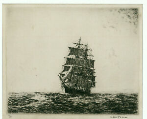 """A fine Arthur Briscoe etching, clearly signed in the border, """"In the Trades"""""""