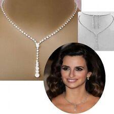 Crystal Tennis Drop Beauty Necklace Earrings Silver Bridal Wedding Jewelry Set
