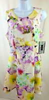 Spense Dress Size 10 Sleeveless White Yellow Purple and Green Floral NWT