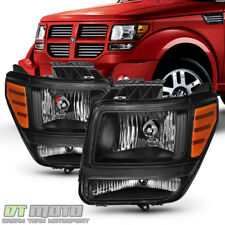 Blk 2007-2011 Dodge Nitro Headlights Headlamps Aftermarket Left+Right 07-11 Set