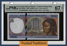 TT PK 305Fe 1999 CENTRAL AFRICAN STATES 10000 FRANCS PMG 67 EPQ SUPERB GEM UNC!