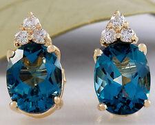 4.80ct Natural Londres Topacio Azul y Diamante 14K Pendientes Oro Amarillo