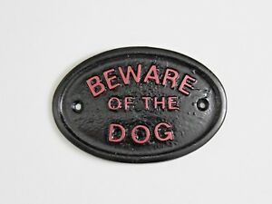 BLACK / PALE RED 'BEWARE OF THE DOG'- HOUSE PLAQUE / WALL SIGN GARDEN - NEW