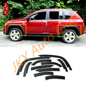 For Jeep Compass 2011-2015 Front+Rear Fender Flares Cover Protector u Moulding