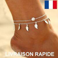 Bracelet Cheville Perle Argenté Plage Eté Femme Bijou Cadeau Anniversaire Mode