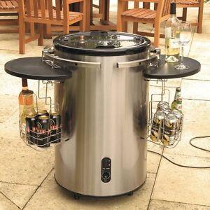Drinks Cooler Electric Stainless Steel Black Shelve Wheels Patio Garden Outdoor