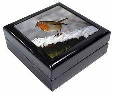 Robin on Snow Wall Keepsake/Jewellery Box Christmas Gift, AB-R15JB