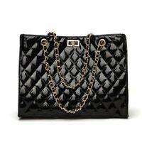 Large Chain Shoulder Bag Women Travel Bags Patent Leather Luxury Handbag Casual