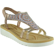 Womens Ladies Diamante Low Wedge Comfy Strap Summer Peeptoe Sandals Shoes Sizes Champagne UK 5 / EU 38 / US 7