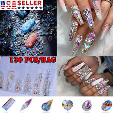 120Pcs AB Crystal Rhinestones Diamonds Gems Glass 3D Nail Art Decor Supply US