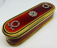 LOVELY RUSSIAN FABERGE SOLID SILVER GILT & DIAMOND MOUNTED GUILLOCHE ENAMEL BOX