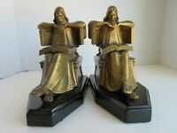 Deep in Thought Bookends - Signed J Ruhl - White Metal - Bronze Tone Finish