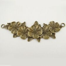 5PCS Vintage Bronze Tone Alloy Flower  Connector Pendant Finding 37651