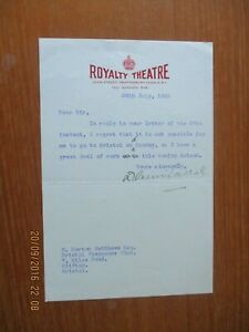 1923 ROYALTY THEATRE LONDON  HEADED PAPER SIGNED TYPED AUTOGRAPH  LETTER