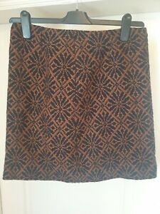 NW3/Hobbs Size 12 Brown & Black Patterned Wool Blend Skirt- Fully Lined