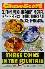 THREE COINS IN A FOUNTAIN 1954 Clifton Webb, Dorothy McGuire US 1-SHEET POSTER