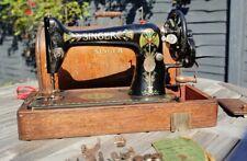 Vintage Singer 66k Lotus Hand Crank Sewing Machine Bentwood Case 1917